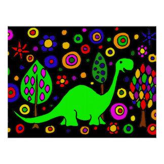 おもしろいな緑恐竜の芸術の抽象芸術ポスター ポスター