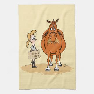 おもしろいな脂肪質の漫画の馬の女性は干し草のために働きます キッチンタオル