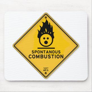 おもしろいな自然発火の警告標識 マウスパッド