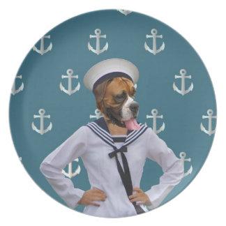 おもしろいな船員犬のキャラクター プレート