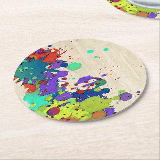おもしろいな色のしぶきI + あなたのアイディア ラウンドペーパーコースター