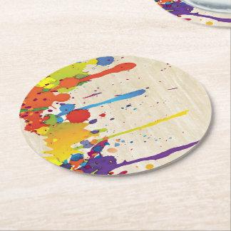 おもしろいな色のしぶきII + あなたのbackgr。 及びアイディア ラウンドペーパーコースター