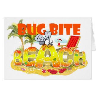おもしろいな虫のかみ傷のビーチの挨拶状 カード