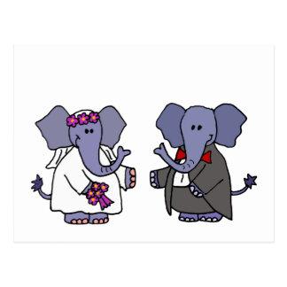 おもしろいな象の新郎新婦の結婚式のデザイン ポストカード