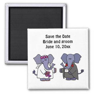 おもしろいな象の新郎新婦の結婚式の芸術 マグネット