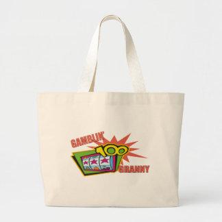 おもしろいな賭博のおばあさんのTシャツのギフト ラージトートバッグ
