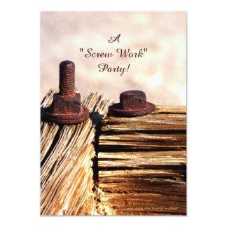 おもしろいな退職のパーティの招待状ねじ仕事 カード