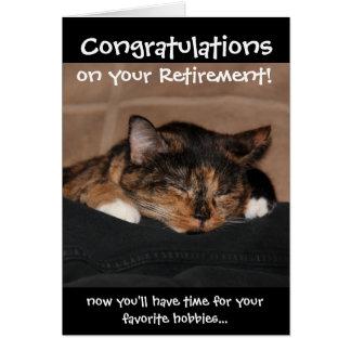 おもしろいな退職カード、うたた寝の茶色のぶち猫 カード