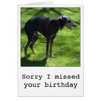 おもしろいな遅れて誕生日犬の挨拶状 グリーティングカード