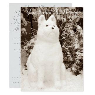 おもしろいな雪の秋田の雪だるまのクリスマスの写真 カード