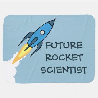 おもしろいな青いRocketshipロケットの未来の科学者 ベビー ブランケット