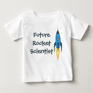 おもしろいな青いRocketshipロケットの未来の科学者 ベビーTシャツ