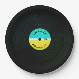 おもしろいな音楽的な一見のビニールの食べ物の記録プレートカバー ペーパープレート