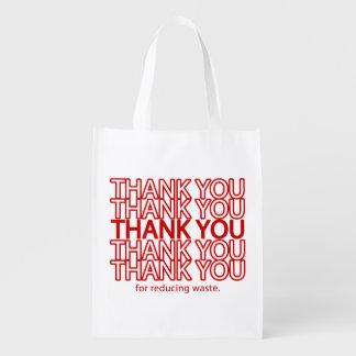 おもしろいな食料雑貨の再使用可能な買い物袋ありがとう エコバッグ