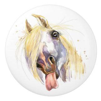 おもしろいな馬の引出しのノブ セラミックノブ