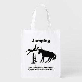 おもしろいな馬の跳躍飛行下るユーモア エコバッグ