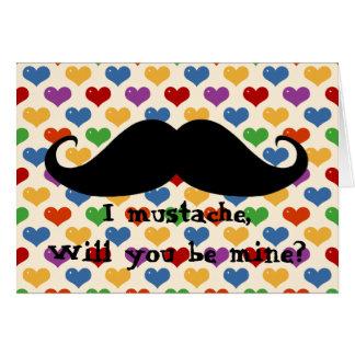 おもしろいな髭のバレンタインデーのヒップスターのハートカード カード