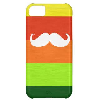 おもしろいな髭。 カラフルのストライプな背景 iPhone5Cケース