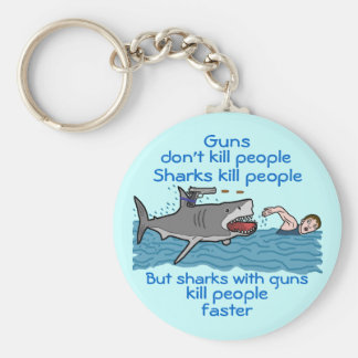 おもしろいな鮫の武装した銃砲規制のユーモア キーホルダー