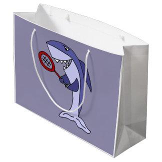 おもしろいな鮫はテニスを遊んでいます ラージペーパーバッグ