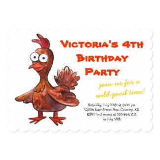 おもしろいな鶏の誕生日のパーティの招待状 カード