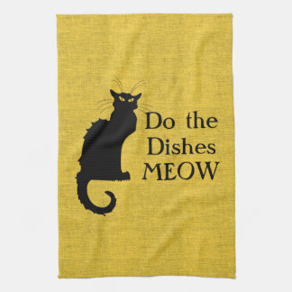 おもしろいな黒くおよび黄色猫手か台所タオル キッチンタオル