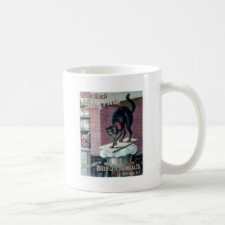 おもしろいな黒猫のヴィンテージのベーキングパウダーポスター広告 コーヒーマグカップ