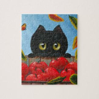 おもしろいな黒猫の赤いりんごCreationarts ジグソーパズル