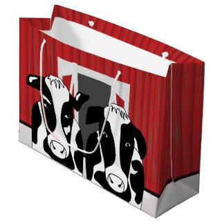 おもしろいな2つの牛のカップルLGB ラージペーパーバッグ