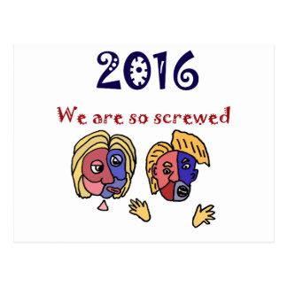 おもしろいな2016年の選挙の欲求不満の漫画 ポストカード