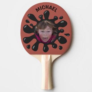 おもしろいな(ばちゃばちゃ)跳ねるのぴしゃぴしゃという音の黒のべたつく物の名前をカスタムするの写真 卓球ラケット