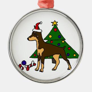 おもしろいな(犬)ドーベルマン・ピンシェルのクリスマスの芸術 メタルオーナメント