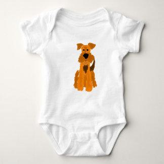 おもしろいなAiredaleテリア犬の芸術 ベビーボディスーツ