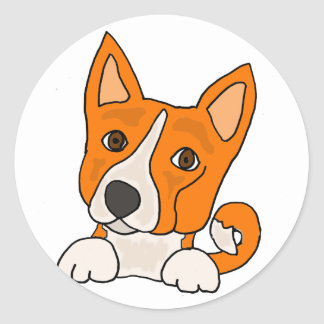 おもしろいなBasenjiの小犬の芸術 ラウンドシール