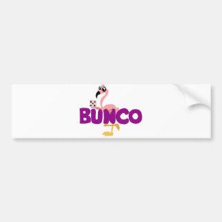 おもしろいなBuncoのサイコロのゲームおよびピンクのフラミンゴ バンパーステッカー