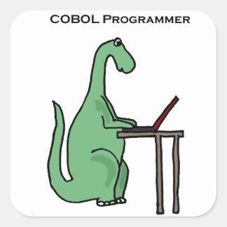 おもしろいなCOBOLプログラマー恐竜 スクエアシール