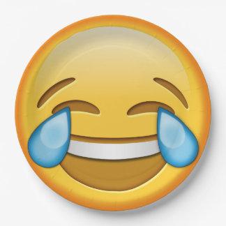 おもしろいなemojiのにこやかな喜びの笑い声の紙皿 ペーパープレート