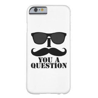 おもしろいなI mustache you a questionの黒のサングラス Barely There iPhone 6 ケース