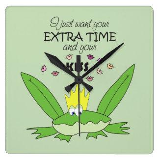 おもしろいなKiss Song Love Cute緑カエルの王子の子供 スクエア壁時計