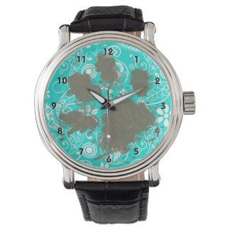 おもしろいなPawprintの水色のペイズリー; 花柄 腕時計