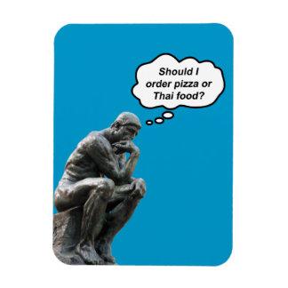 おもしろいなRodinの思想家の彫像-ピザかタイの食糧か。 マグネット