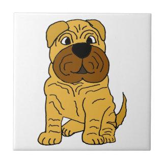 おもしろいなShar Peiの小犬のオリジナルの芸術 タイル