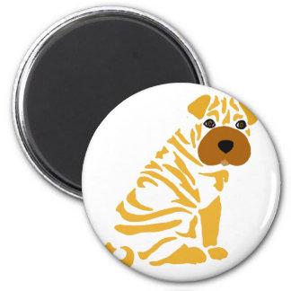 おもしろいなShar Peiの小犬の抽象美術 マグネット