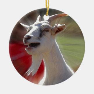 おもしろいなTallkingのヤギの写真 セラミックオーナメント