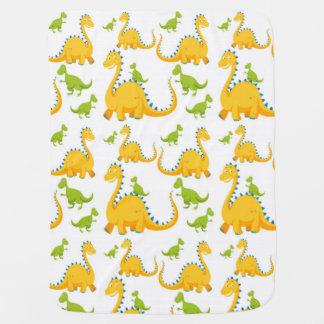 おもしろいのかわいく黄色および緑恐竜 ベビー ブランケット