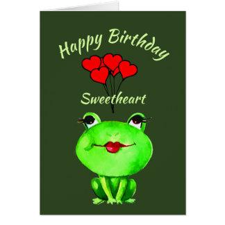おもしろいのしゃれの誕生日のカエルの発見Ribbiting カード
