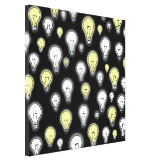 おもしろいのよくはしゃぐで白熱[赤熱]光を放つな電球のインスピレーション キャンバスプリント