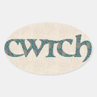 おもしろいのウェールズCwtchのステッカー、ペイズリーパターン 楕円形シール
