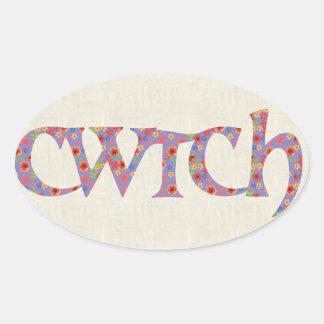 おもしろいのウェールズCwtchのステッカー、Ditzy花 楕円形シール