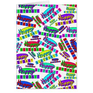 おもしろいのカラフルな動的レトロのハッピーバースデーパターン カード